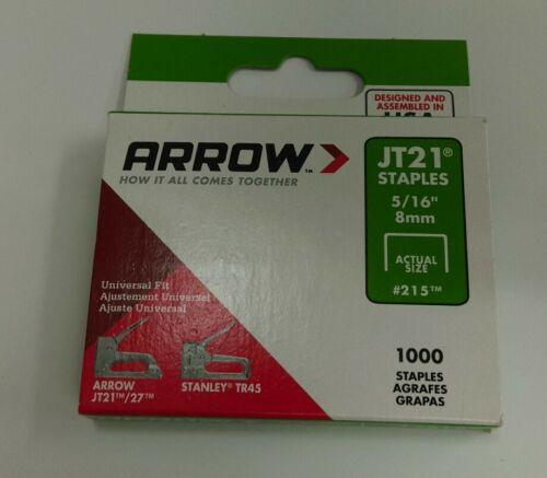 Box 1000 5//16in Arrow-JT21 T27 agrafes 8 mm