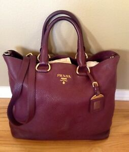 6e8e9acf00d Image is loading Auth-PRADA-Vitello-Daino-Wine-Shopping-Tote-Crossbody-