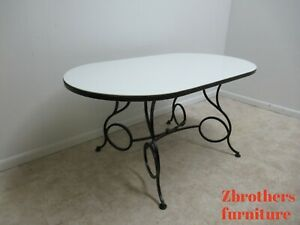 Details About Vtg French Regency Wrought Iron Dining Room Table Milk Glass Top Coleman Kalick