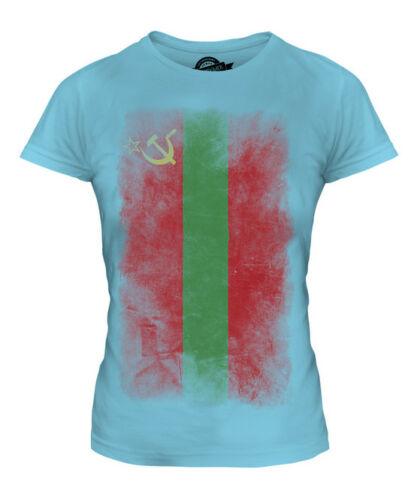 TRANSNISTRIA FADED FLAG LADIES T-SHIRT TEE TOP GIFT SHIRT CLOTHING JERSEY