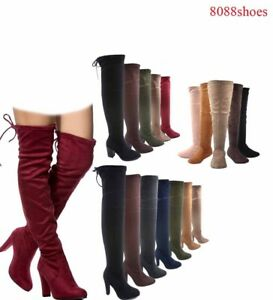 Women-039-s-Pull-Up-Almond-Toe-Over-The-Knee-Flat-High-Heel-Boots-Size-5-5-10-NEW