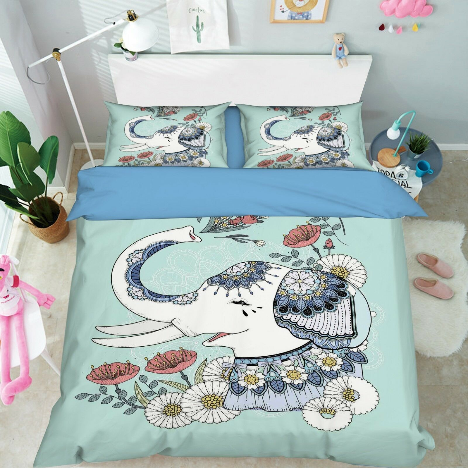 3D Painted Elephant 7 Bed Pillowcases Quilt Duvet Cover Set Single Queen King CA