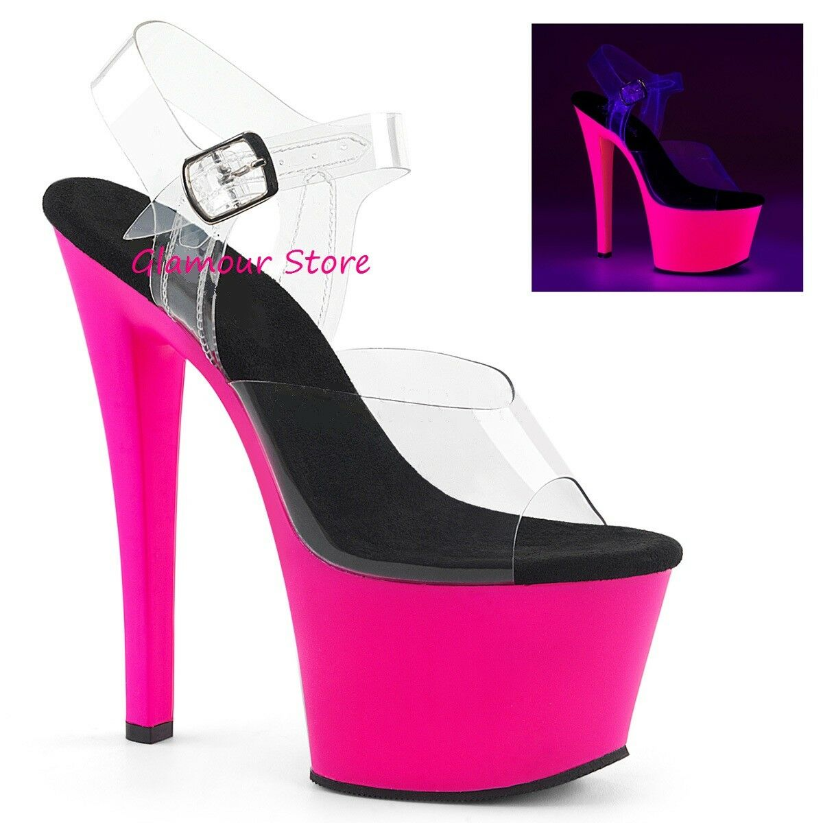 Sexy Fluorescent Sandals Heel 18 from 35 to 41 Pink On Transparent Platform