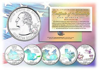 MINT STATE QUARTERS Complete Set of 5 Coins 2004 HOLOGRAM U.S with Capsules