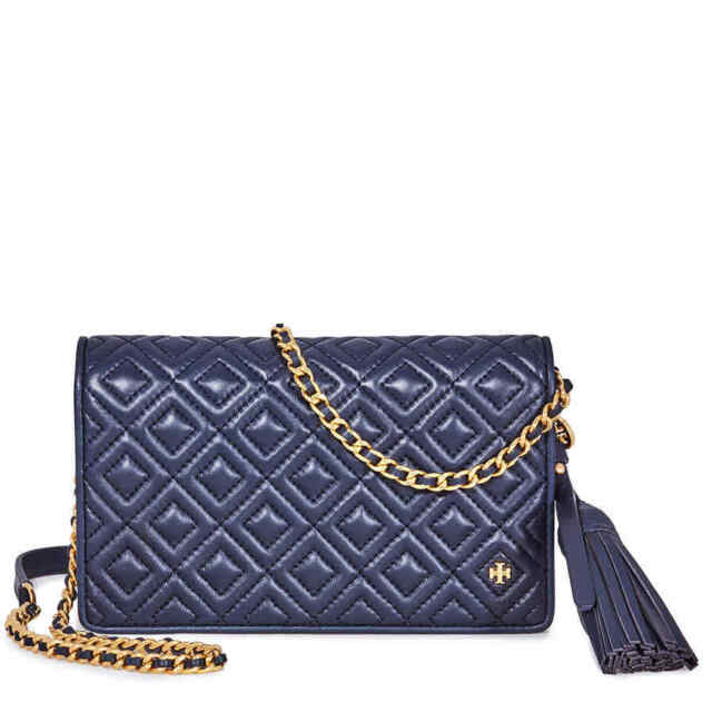 b3fb015dce9 Tory Burch Fleming Leather Quilted Flat Wallet Crossbody in Royal ...
