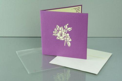 Blumen 3-D Pop Up Grußkarte Geburtstag Blumenstrauß Geldgeschenk weiß-lila 15x15