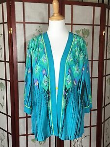Bob-Mackie-Womans-Cardigan-QVC-Wearable-Art-Floral-3-4-Sleeve-Open-Front-NWOT