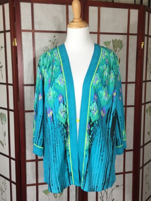 Bob Mackie Womans Cardigan QVC Wearable Art Floral 3/4 Sleeve Open Front NWOT