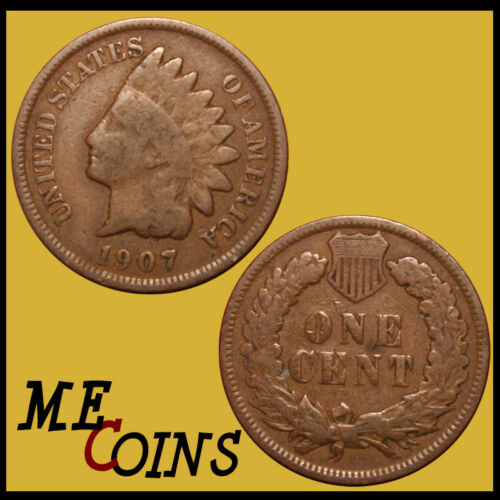 Circulated Good-Very Good 1907 Indian Head Cent Penny US Coin