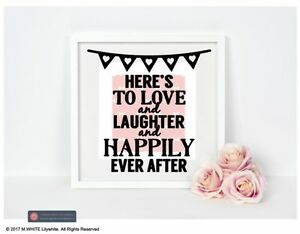 Here/'s to Love and Laughter and Happily Ever After Vinyl Sticker for BOX FRAME