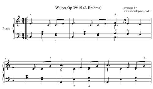 waltz Brahms sheet music pdf Walzer Brahms op 39//15 Klavier Noten PDF