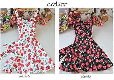 Kawaii VINTAGE Girls Cherry Suspender Dress Overall Dress High Waist Black&white