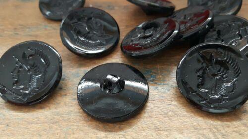 ♥ nº 113-10 unidades vieja geniales vidrio botones negro con cabeza romanos dm 26 mm ♥