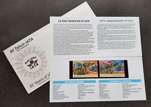 SJ-Malaysia-50-Years-Of-IATA-1995-Airplane-Hornbills-p-pack-MNH-see-scan