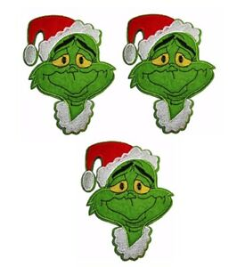 Grinch-Christmas-Hat-6-034-Tall-Iron-on-Set-of-3-Patches