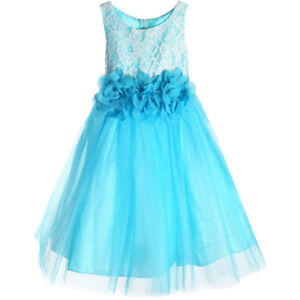75136211aaf Image is loading AQUA-BLUE-Flower-Girl-Dress-Formal-Prom-Bridesmaid-