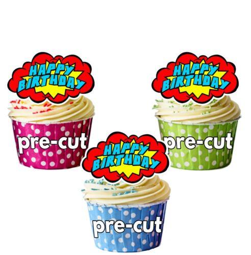 Dibujos animados de cumpleaños Bubble Precortada Comestible Cupcake Toppers discurso Decoraciones De Pastel