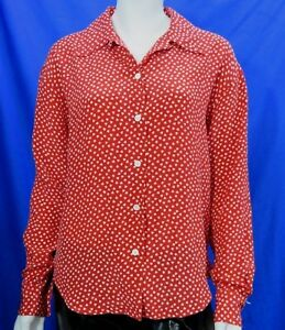 Austin Reed Red 100 Silk Shirt Hearts Size 10 Us 6 Party Special Occasion Ebay