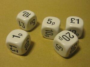 5-x-22mm-White-Money-Six-Sided-Dice-D6-Numeracy-Maths-Teaching-Resource-D030