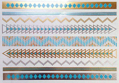 color Metallic gold, silver, turquoise Temporary Tattoos, flash tattoo