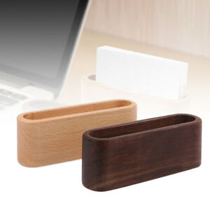Desktop Stand Desk Organizer Name Card Container Wooden Business