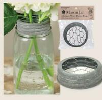 Metal Mason Or Ball Canning Jar Flower Vase Frog Lid In Rustic Antique Gray
