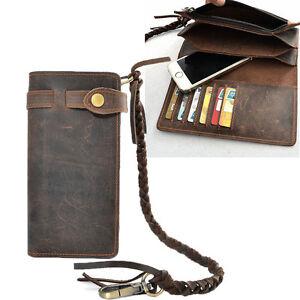 Vintage-Men-039-s-Leather-Card-Holder-Long-Chain-Trucker-Wallet-Biker-Billfold-Purse