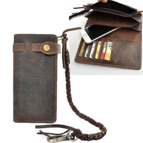 Vintage Men/'s Leather Card Holder Long Chain Trucker Wallet Biker Billfold Purse