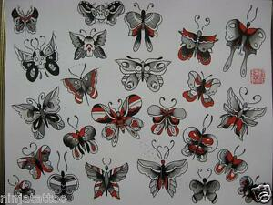 10pgs Old School 11x14 Butterfly Women Skull Parrish Tattoo Flash