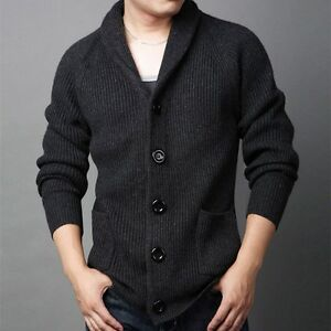 Men Thick Wool Blend Cable Knitted Button Cardigan Jumper Sweater ... 37db4c50e