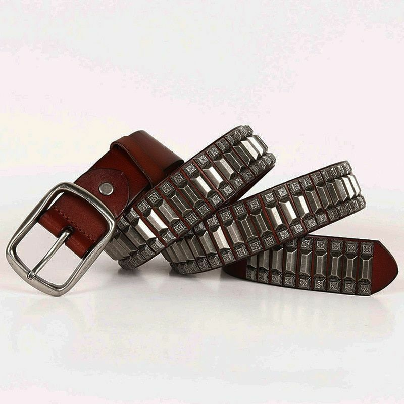 Cowboy Motorcycle Heavy Metal Rivet Belts For Men Genuine Leather Punk Rock