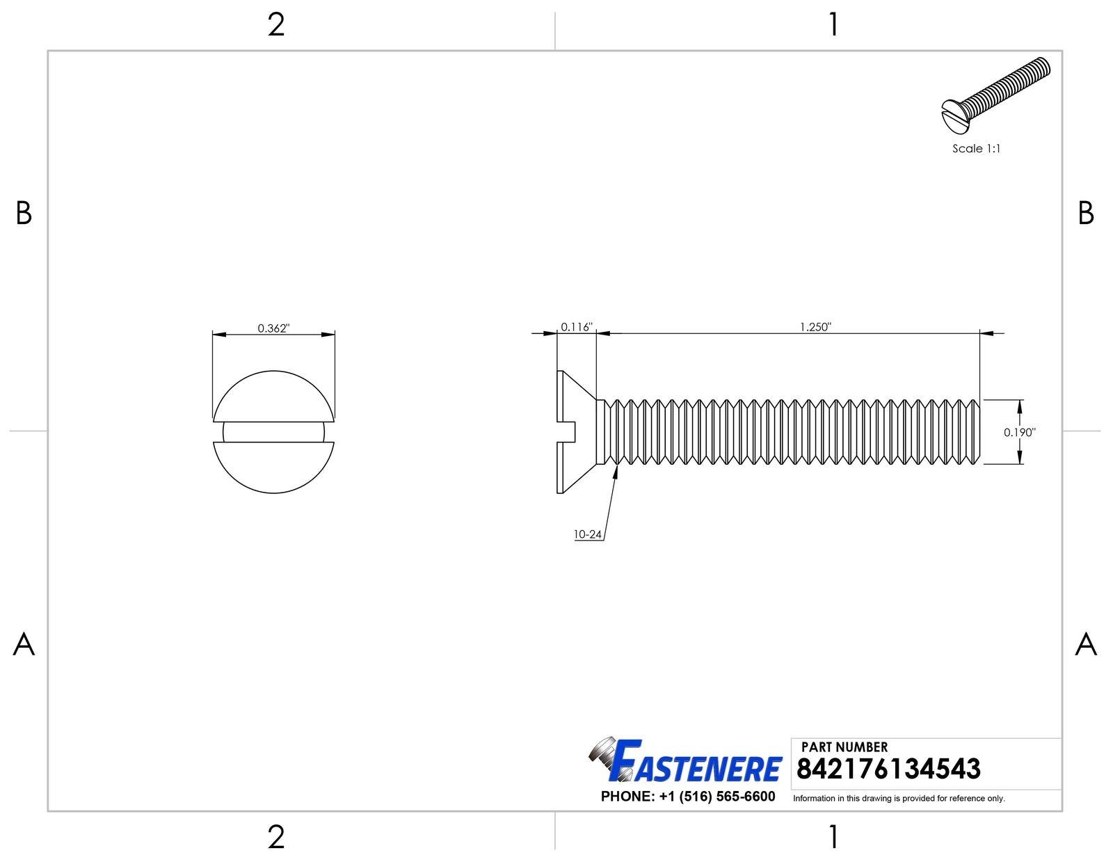 X 1-1/4 1-1/4 1-1/4 Cabeza Plana Ranurado Tornillos de Máquina Acero Inoxidable 18-8 Qty 500 55e08f