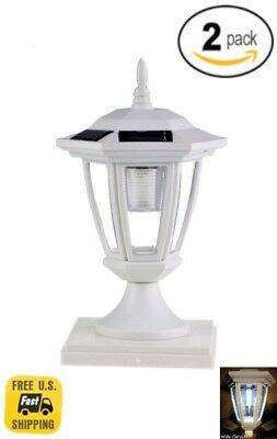 """Set Of 6 Solar Black Hexagon Cap Light With White SMD LED For 6/""""x6/"""" Fence Post"""