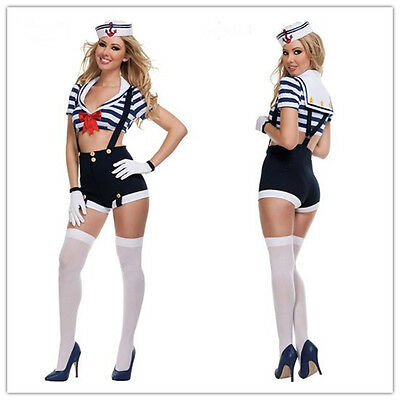 Sexy Navy Sailor Sea Waiter MAID Girl Fancy Dress Costume Halloween Outfit S-L