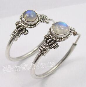 925-Solid-Silver-Wonderful-RAINBOW-MOONSTONE-TRIBAL-INDIA-HOOP-Earrings-1-2-Inch
