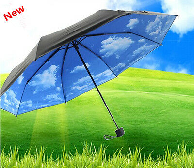 New Fashion Outdoor Anti UV Sun/Rain Protection Blue Sky Folding Umbrella Mot