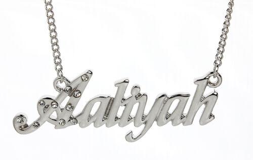 18 K oro blanco plateado Collar Con Nombre Aaliyah-Boda Placa de nombre Joyas
