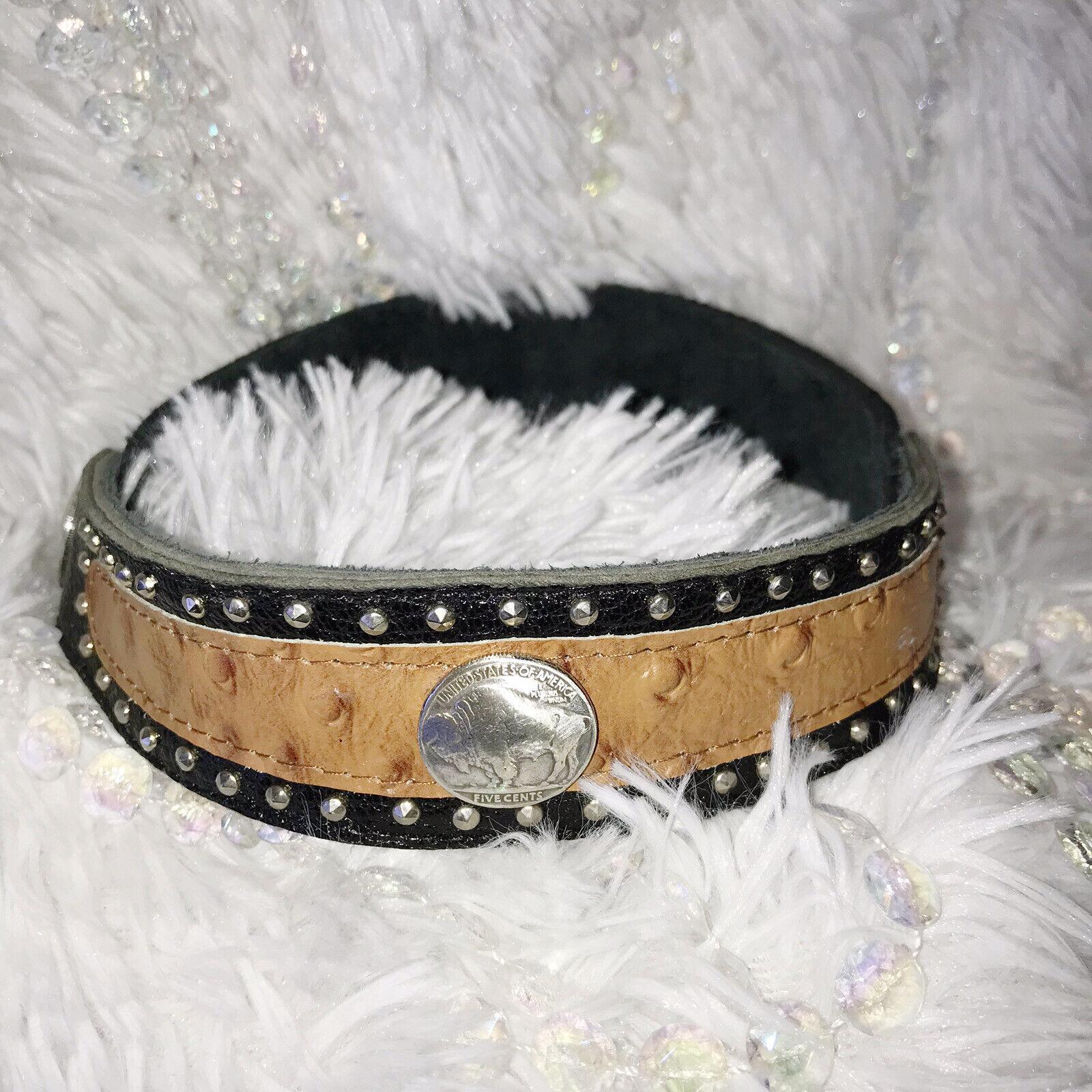 Cowboy Boot Bracelet Rodeo Barrel Race Cuff Western Buffalo Nickel Stud Leather