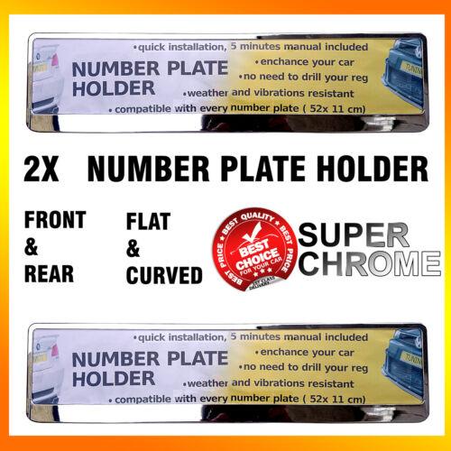 2 X Super Cromo Efecto matrícula titular Envolvente Para Cualquier Auto