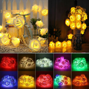 20-LED-Rose-Flower-Fairy-Wedding-Party-Garden-Christmas-Decor-Xmas-String-Lights