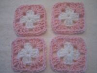 40-3 Granny Squares Blocks 4 Afghan, Afghans Pink & White Handmade, Orlon Yarn