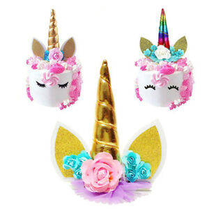 Gold-Silver-Pink-Unicorn-Horns-Cake-Topper-Kids-Birthday-Baby-Shower-Cake-Decor