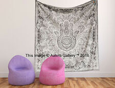 Tapestry Double Hamsa Wall Decor Indian Throw Fatima Hand Bedspread Art 92X82