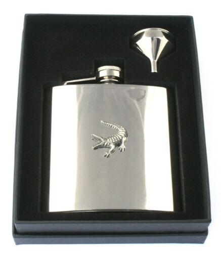 Crocodile 6oz Hip Flask Personalised Wildlife Gift Boxed FREE ENGRAVING