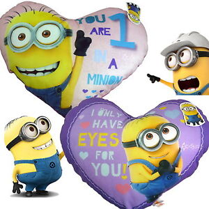 """Large Minions Heart Shaped 20"""" Cushion Despicable Me 2 Designs"""