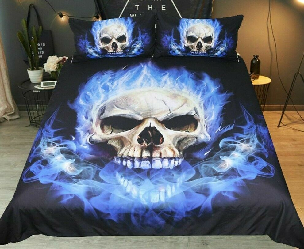 Bedclothes Duvet Cover Flame Skull Bedding Set King 3D Print Gothic Fabric Cases