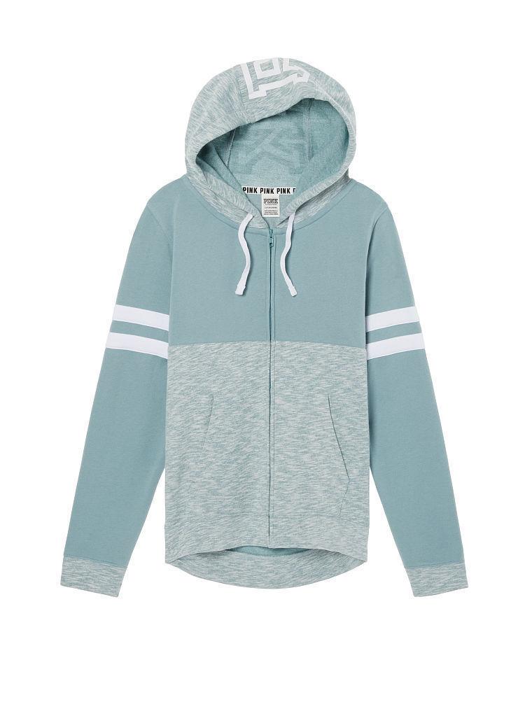VICTORIA'S SECRET Pink Perfect Full Zip Hoodie Marl Green Medium NWT