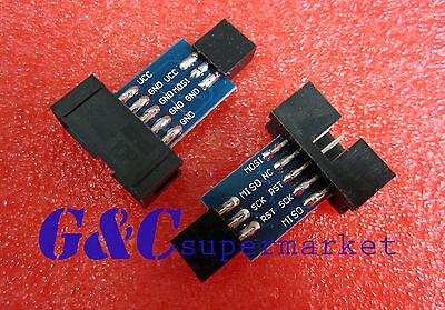 2PCS 10 to 6 Pin Adapter for ATMEL AVRISP USBASP STK500 Black M19