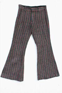 Vintage 70s Espiga De Lana A Rayas Enormes Parte Inferior De Campana Menswear Boho Pantalones Xs S Ebay