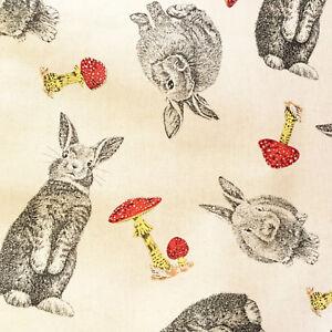 Rabbit-fabric-rabbits-amp-toadstools-fabric-cotton-linen-look-bunny-animal